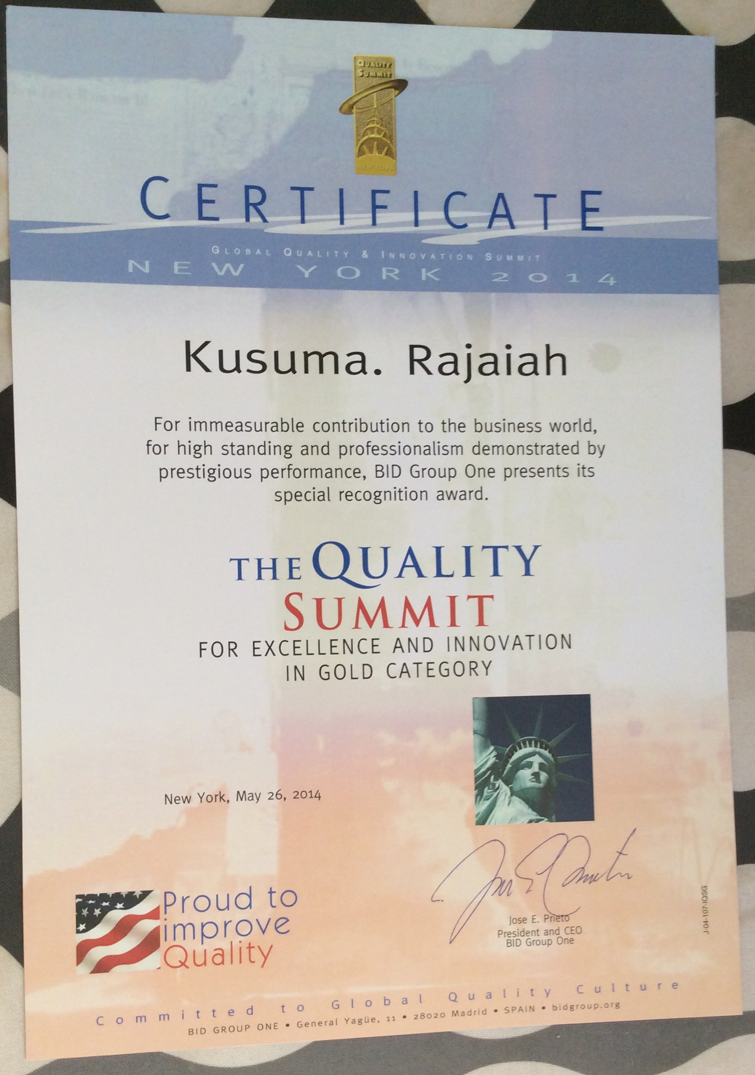 Certificate of Quality summit award -2014